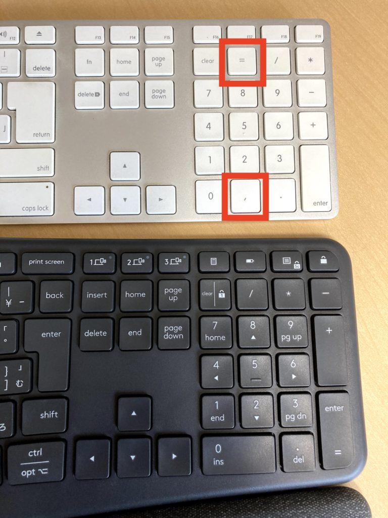 macキーボードとERGO K860の比較